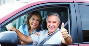 Senior couple in the car